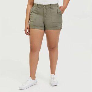 Torrid Military Twill Short Short in Olive Green